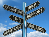 multiple signs noting help, counseling, support, tips, guidance, and assistance